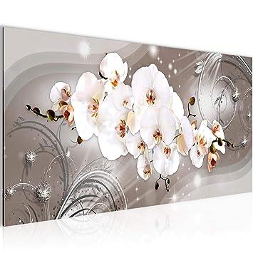 Bilder Blumen Wandbild 100 x 40 cm Vlies - Leinwand Bild XXL Format  Wandbilder Wohnzimmer Wohnung Deko Kunstdrucke Braun 1 Teilig - Made IN  Germany - ...
