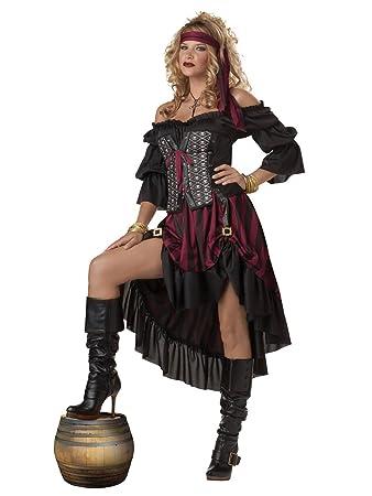 Dunkle Piratin Freibeuterin Damenkostum Schwarz Rot S
