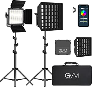 GVM RGB Led Video Light with 2 Softboxes, Photography Lighting Kit with Bluetooth Control, Dimmable Led Panel of LCD Screen, 360 Degree Full Color Studio Lights, 8 Kinds of The Scene Lights, CRI 97+