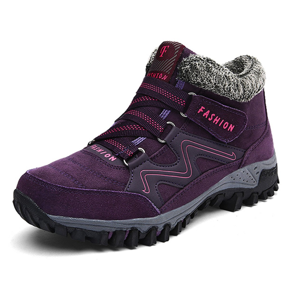 gracosy High Top Sneaker, Women Winter Warm Hook Loop Snow Shoes Fur Lining Casual Boots Ankle Bootie Purple 8 B(M) US