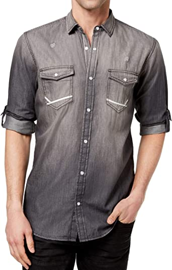 Inc Mens Large Chambray Distress Button Down Shirt Black L At Amazon Men S Clothing Store