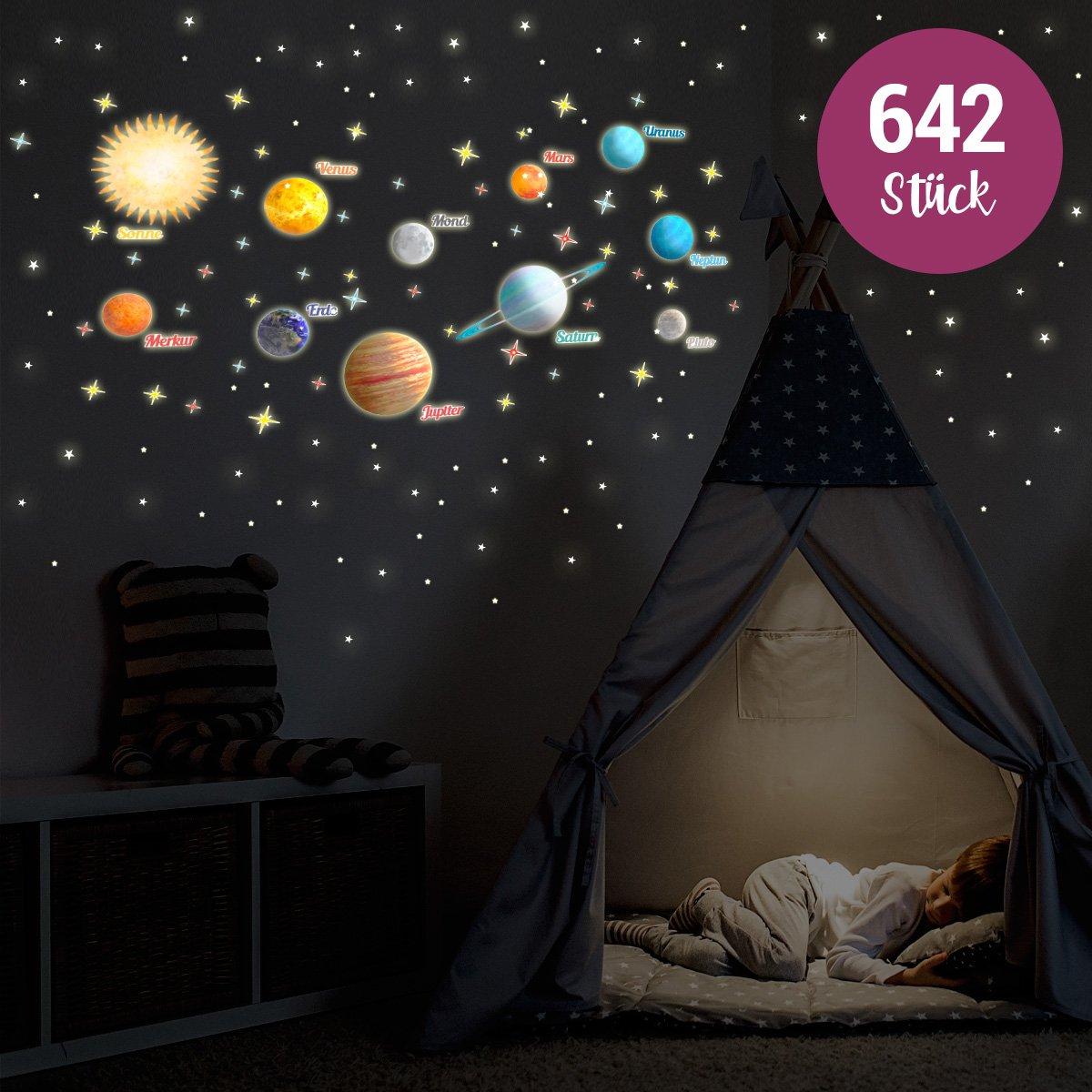 Wandkings leuc htauf – Adhesivo Nuestro sistema solar, estrellas y ...