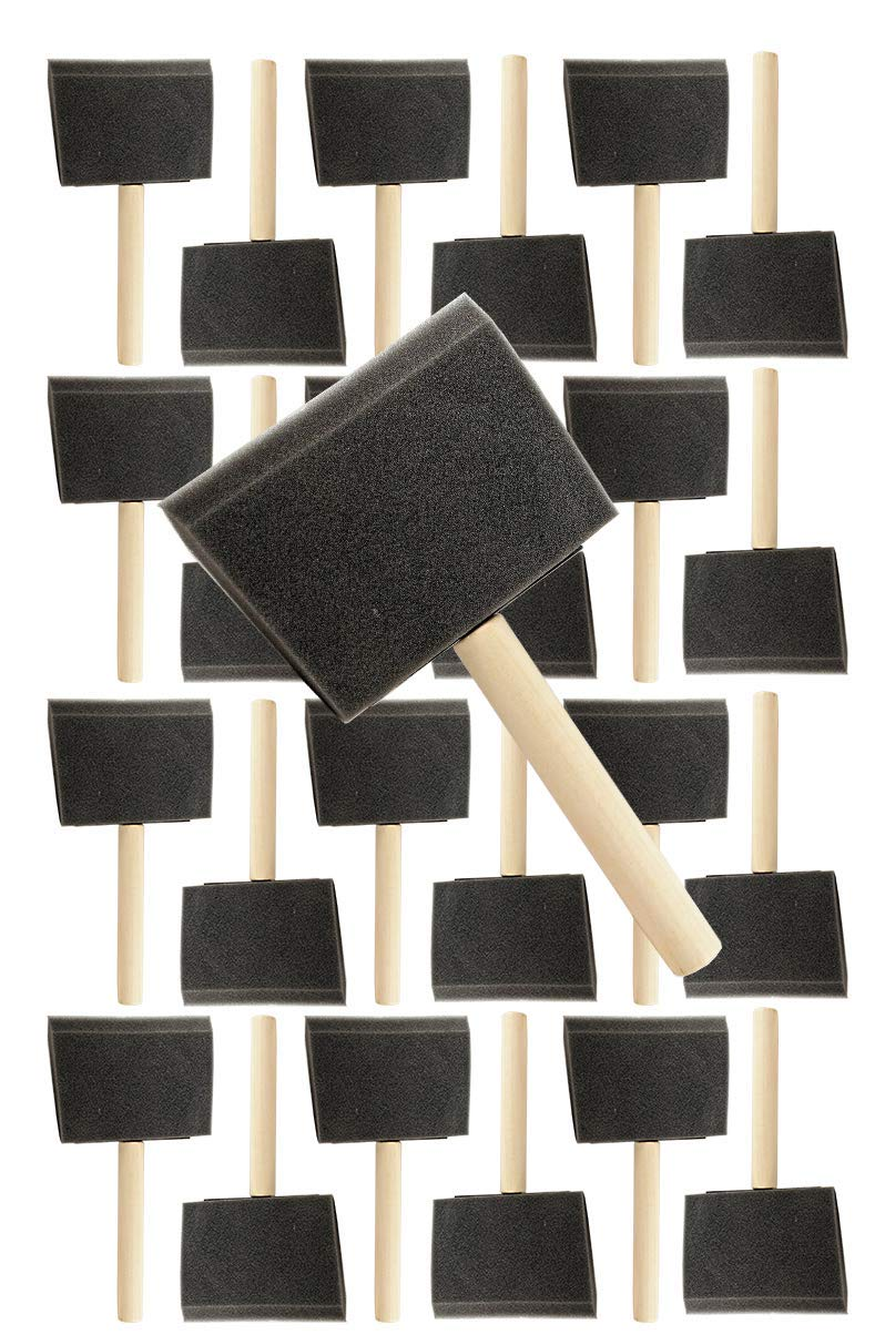 Pro Grade 4 Inch Foam Sponge Wood Handle Paint Brush Set (24 Value Pack) Lightweight, Durable and Used for Acrylics, Stains, Varnishes, Crafts, Art, Glue Brushes, Touch UP's, Polyurethane