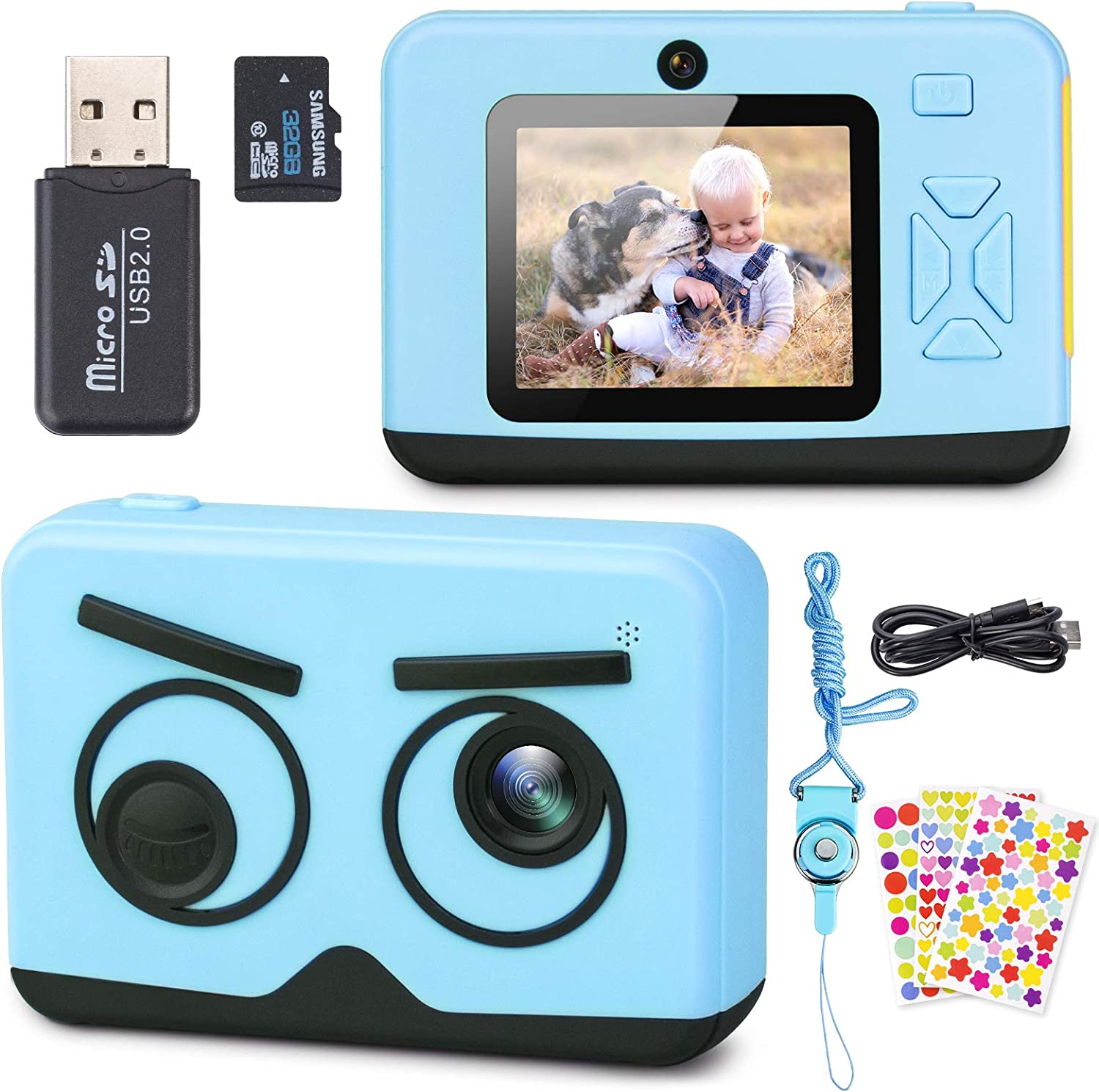 Upgrade Kids Camera, Belita Amy 2.4 Inch 1080P HD Dual Lens Digital Video Camcorder, Birthday Christmas Children Electronic Camera for Age 3-12 Years Old Girls Boys Toddlers with 32G SD Card(Blue)