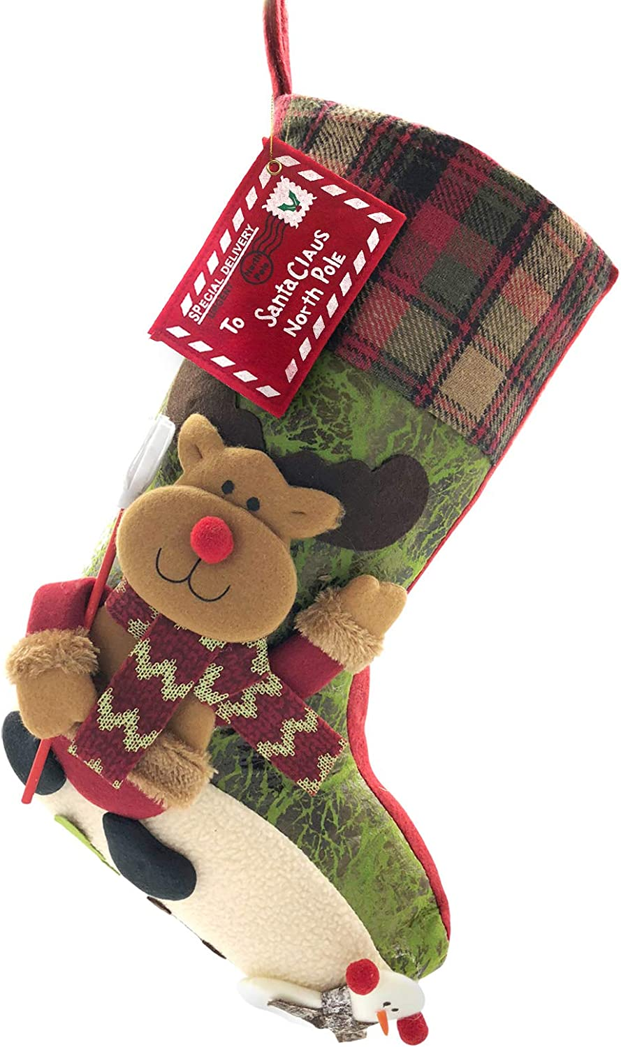 ETERAMUS 21 inch Plaid Christmas Stockings One Piece, Felt Large Plush 3D Reindeer Snowman Design Hanging Bags, Socks - Holiday Girls Boys Gift Party Decorations for Decor Xmas Tree,Mantel (Green)