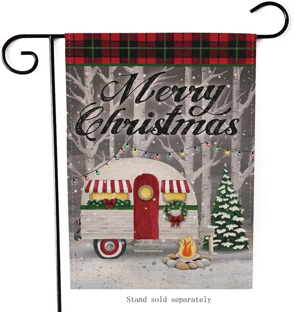 Artofy Merry Christmas Garden Flag, Decorative Xmas Outdoor Flag Sign Buffalo Check Plaid, Rustic Burlap House Yard Garden Flag Winter Outside Decoration Seasonal Home Decor Flag 12 x 18