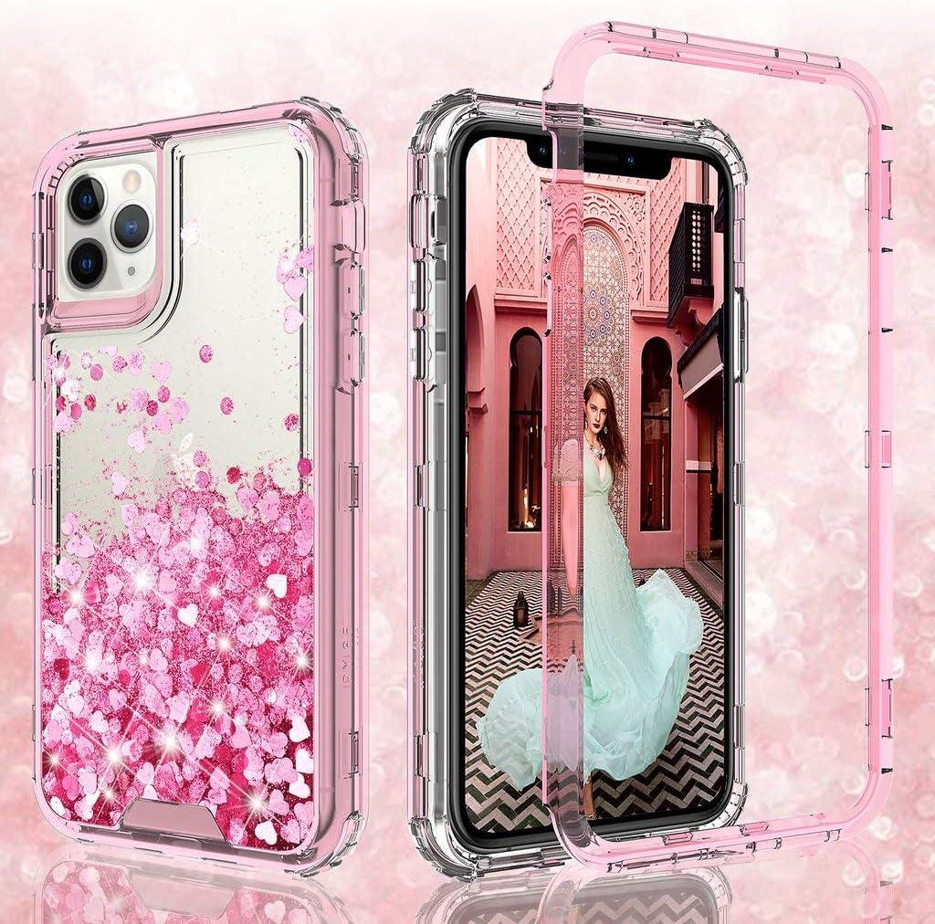 GW Case for iPhone 11 Pro Max Case, Hard Clear Glitter Liquid Waterfall Heavy Duty Girls Women Design for Apple iPhone 11 Pro Max Case - Pink