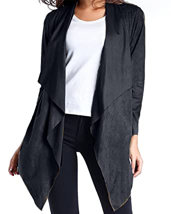 d9ac5633793 StyleDome Sexy Women s Waterfall Cardigans Long Sleeve Tops Shawl Wrap Coat  Poncho Cape Plus Size Black