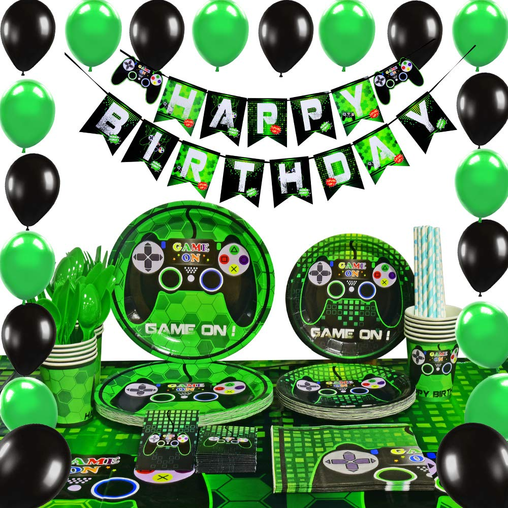 WERNNSAI Video Game Party Supplies - Gaming Party Decoration Boys Birthday Party Favors Cutlery Bag Table Cover Plates Cups Napkins Straws Utensils Birthday Banner & Balloons Serves 16 Guests 169 PCS by WERNNSAI