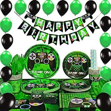 WERNNSAI Conjunto de Suministros para la Fiesta Juego - Party Decoracion Chicos Cumpleaños Favors de Fiesta Servilletas Cubiertos Mantel Platos ...