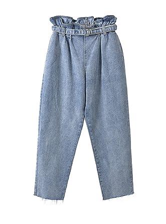 COCO clothing Sommer Herbst Mom Jeans Damen Breit Freizeithosen Frauen  Blumen Hoher Bund Bundfaltenhosen Culotte 7 fe9a554c8b