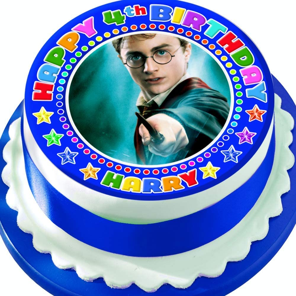 Harry Potter Personalised with Name and Age PRECUT 7.5 INCH Cake Topper Edible Decoration Icing Sheet