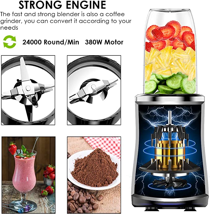 BPA Free LOFTer Smoothie Maker 380 W Stainless Steel Blender Smoothie Maker 24,000 RPM Multifunction Mini Stand Mixer with 500 ml /& 700 ml Bottles and 300 ml Sanding Cup
