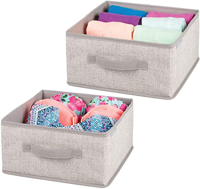 mDesign Caja de almacenamiento Cajas para ropa rectangulares para el dormitorio marr/ón oscuro Organizador apilable grande y de fibra sint/ética con tapa y ventana de visualizaci/ón
