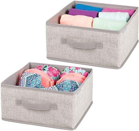mDesign Juego de 2 cajas organizadoras para ordenar armarios – Organizadores para armarios en polipropileno con estética de cuerdas – Cajas de tela para guardar ropa, accesorios y más – beige: Amazon.es: Hogar