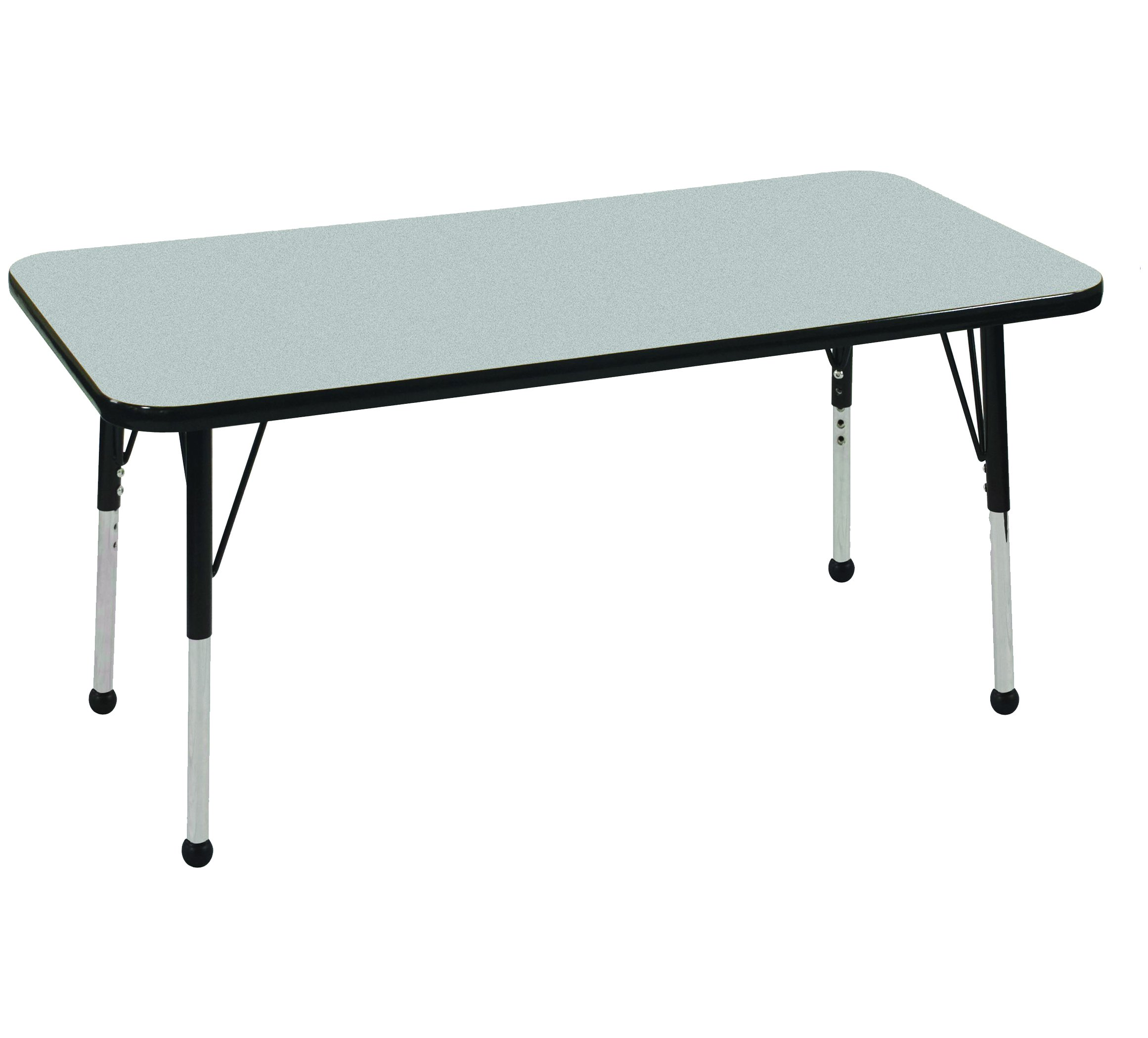 ECR4Kids 24'' x 48'' Rectangular Activity School Table, Standard Legs w/Ball Glides, Adjustable Height 19-30 inch (Grey/Black)