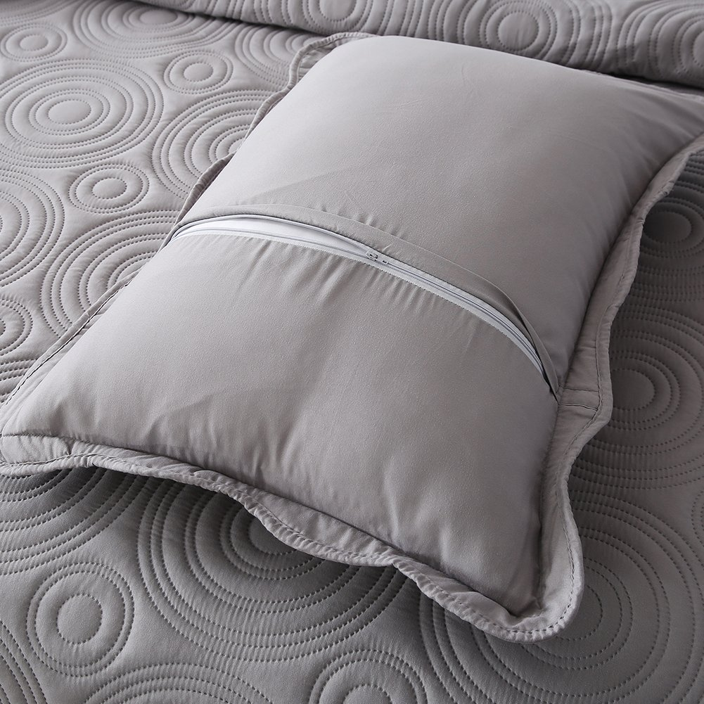 NEWLAKE Microfiber Lightweight 3 Piece Bedspread Coverlet Set,Embossed Wavelet Pattern, Queen Size by NEWLAKE (Image #8)