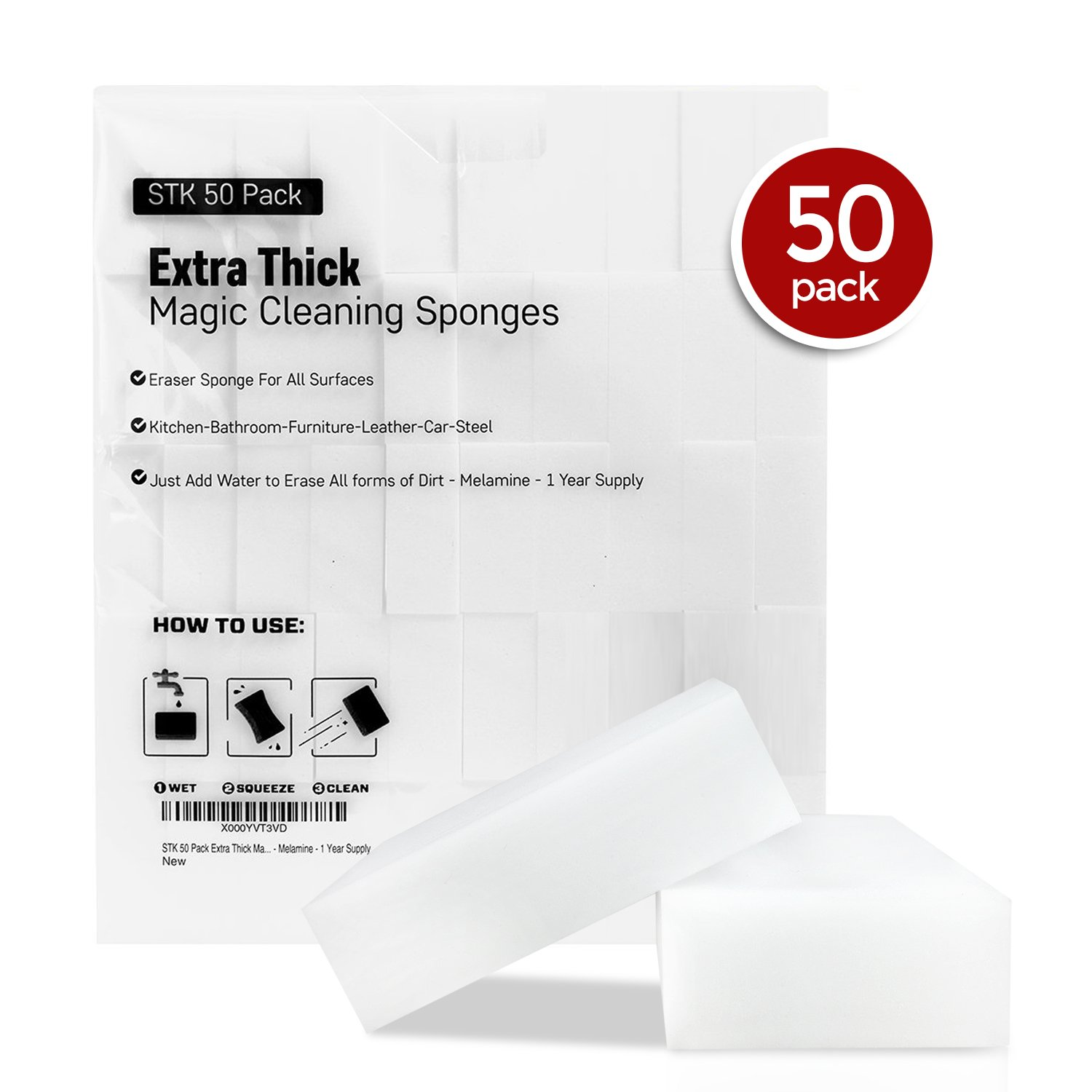 Amazon.com: STK 50 Pack Extra Thick Magic Cleaning Sponges - Eraser ...