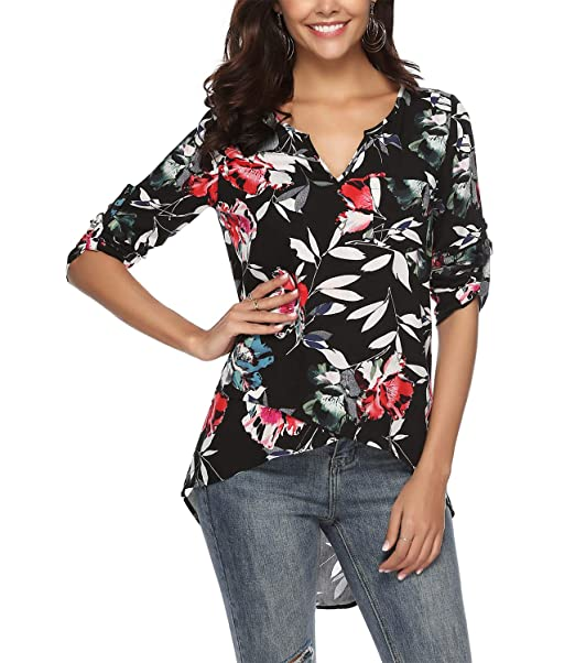 28958e2459 Mansy Womens Casual Floral V Neck Long Sleeve High Low Asymmetrical ...