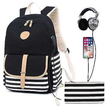 e385ec9daac3 Bookbag for Women,Canvas Backpack Girls Stripe School Bookbag Women College  Backpack With USB Port (GG93 Black USB backpack + purse)