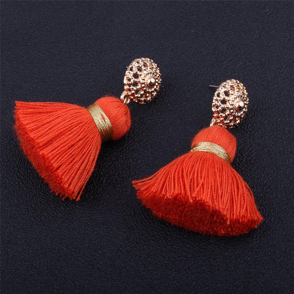 Aibelly Bohemian Retro Ethnic Short Tassel Statement Chandelier Dangle Drop Earrings New Fashion Handmade Thread Stud Earrings for Woman Girls by Aibelly (Image #7)