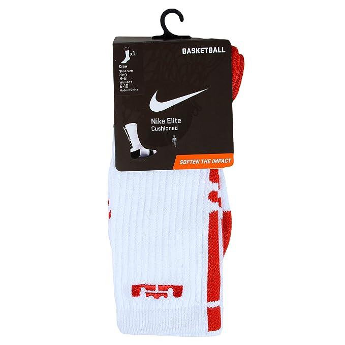Nike Lebron Elite Calcetines de Baloncesto Blanco/Rojo, Blanco ...