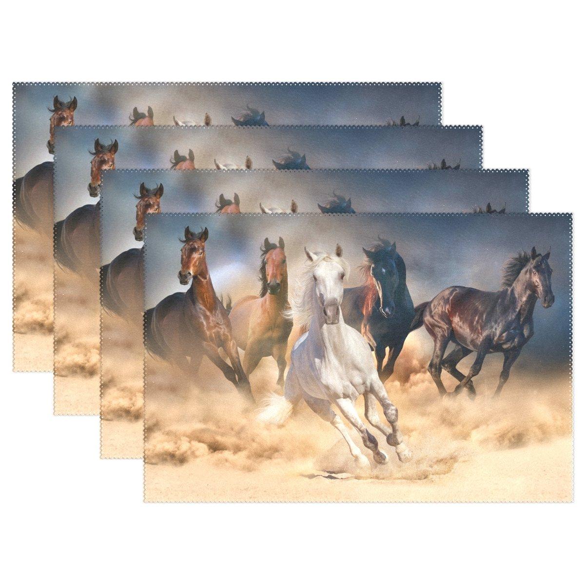 yochoiceヴィンテージレトロなカラフルRunning Horse Animalプレースマットプレートホルダーのセット1、スタイリッシュなポリエステルテーブルの配置マットプロテクターキッチンダイニングルーム12