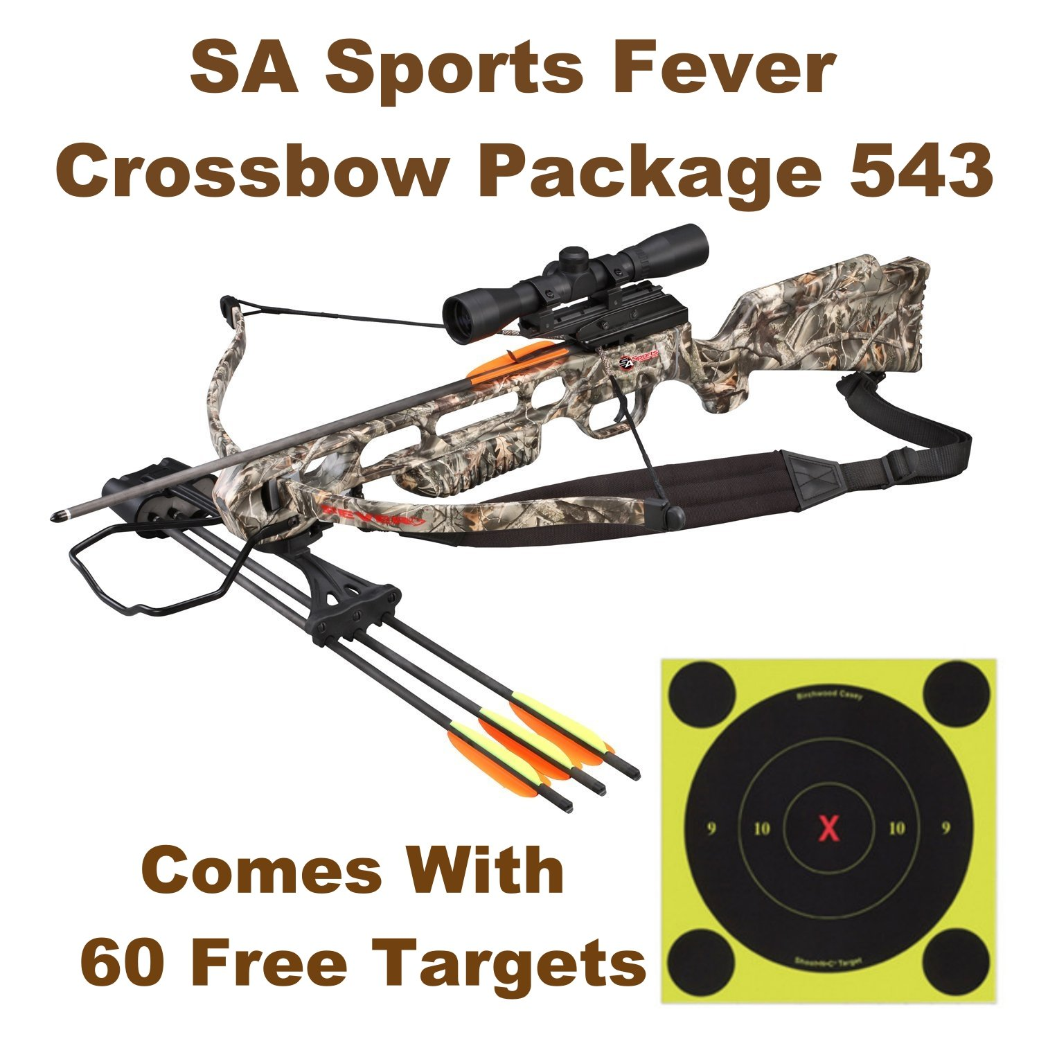NEW SA Sports Fever Crossbow Package Perfect For Your Zombie Apocalypse Kit Comes With 60 Free Targets