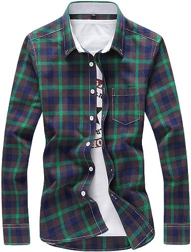 rtrtrewe 5XL Camisas a Cuadros para Hombre, Camisa a Cuadros de Moda con Botones de Manga Larga Casual Camisa Talla Grande Verde Verde XXXXXL: Amazon.es: Ropa y accesorios