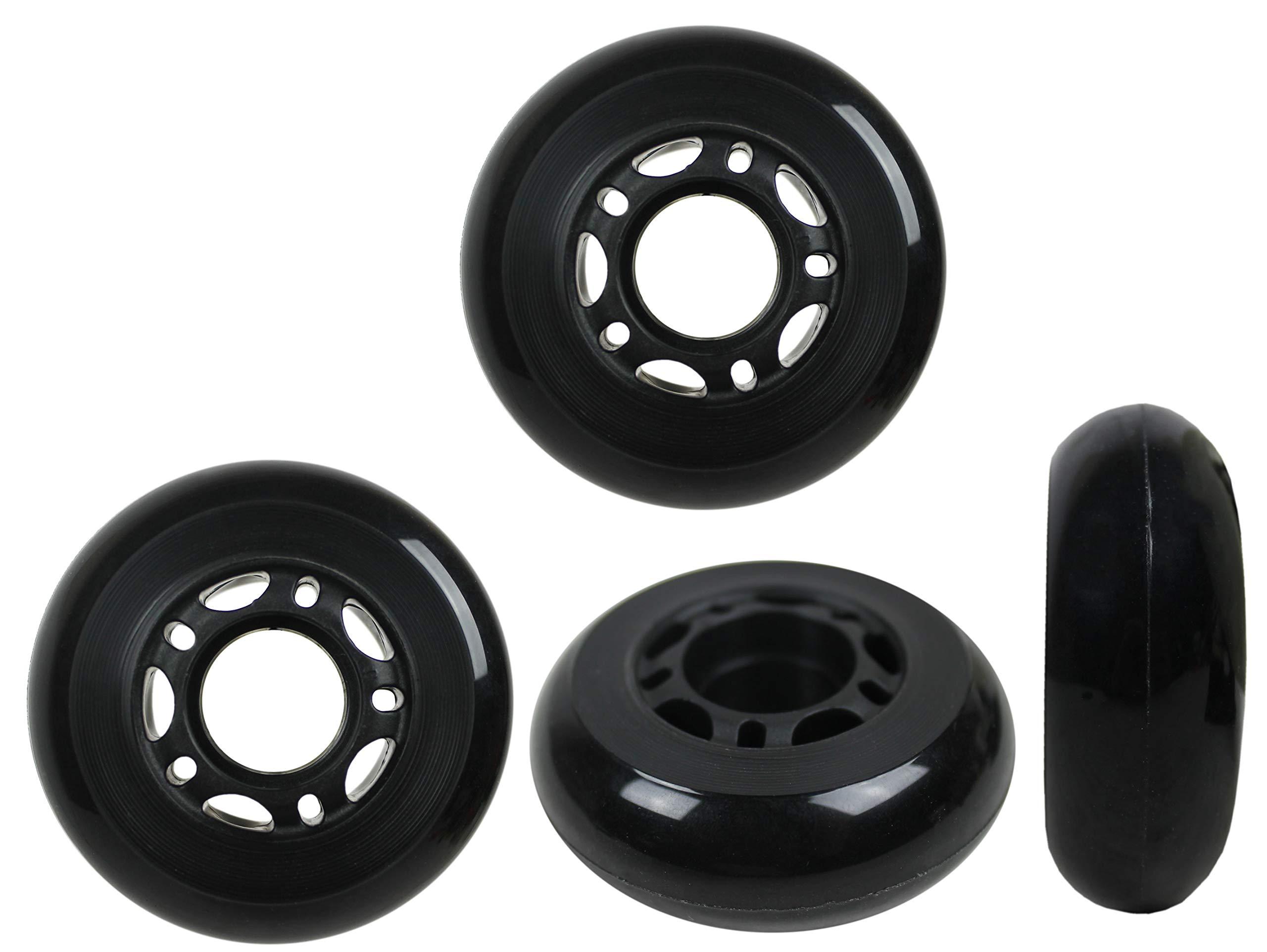 Ruedas de patines en línea KSS 64 mm 82A con cubo de 5 radios (paquete de 4), 64 mm, negro / gris / rojo