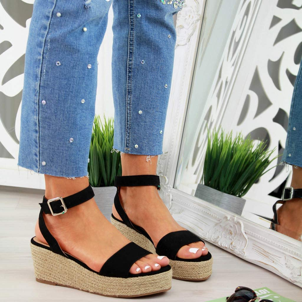 Womens Wedge Sandals,Star/_wuvi Summer Woven Ankle Buckle Strap Beach Sandals Platform Peep Toe Roman Shoes