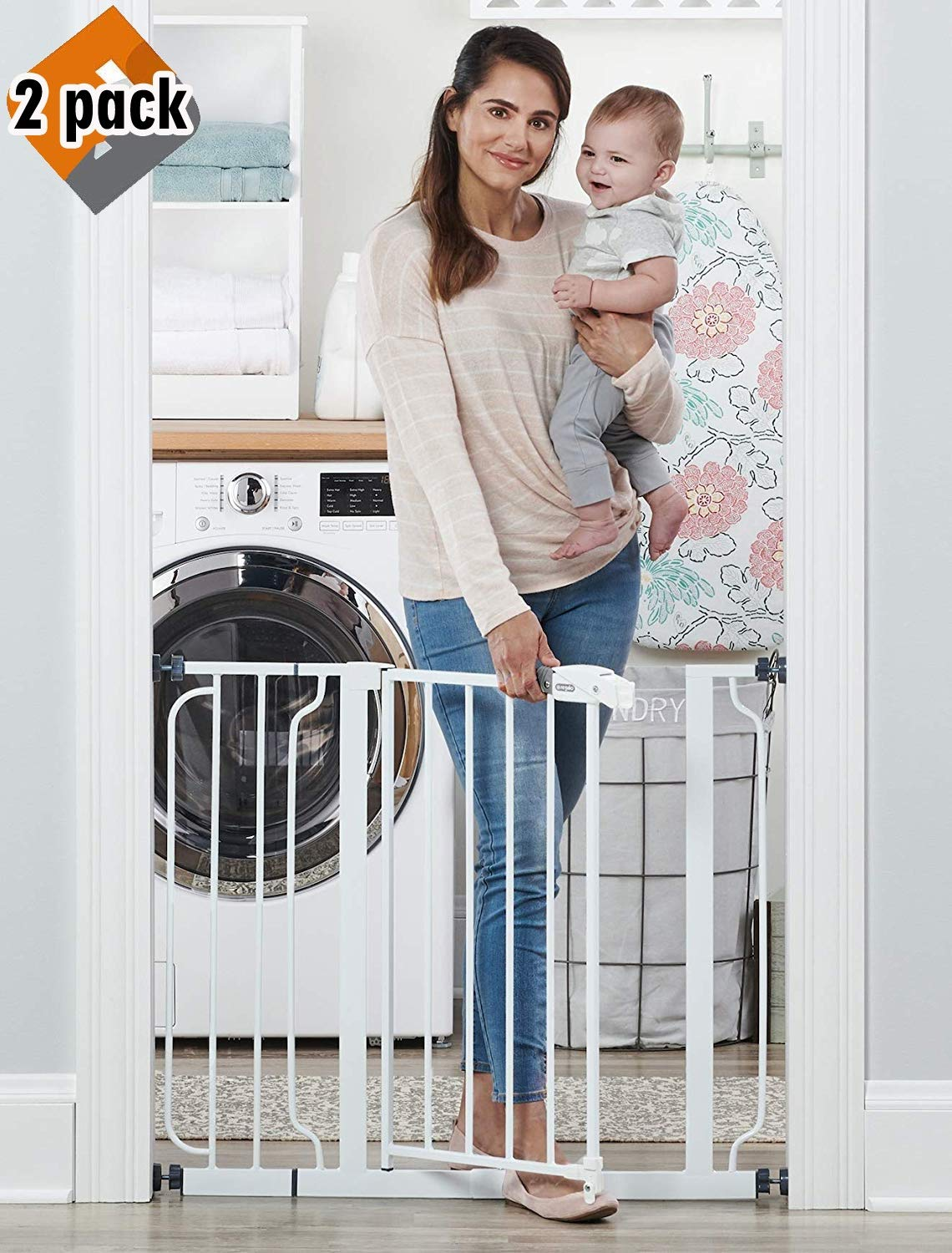 Regalo Easy Step 38.5-Inch Extra Wide Walk Thru Baby Gate, Includes 6-Inch Extension Kit, Pressure Mount Kit, Wall Cups and Mounting Kit, 2 Pack by Regalo