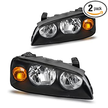 Headlight Assembly For 04 06 Hyundai Elantra Replacement Headlamp Driving Light Black Housing Amber Reflector Clear Lens