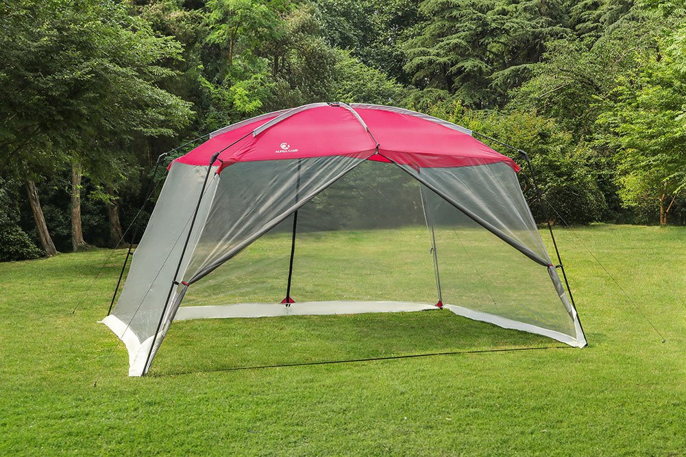 ALPHA CAMP Screen House & Room Canopy Tent with Mesh Side Walls and Carry Bag - 13'X9', Red