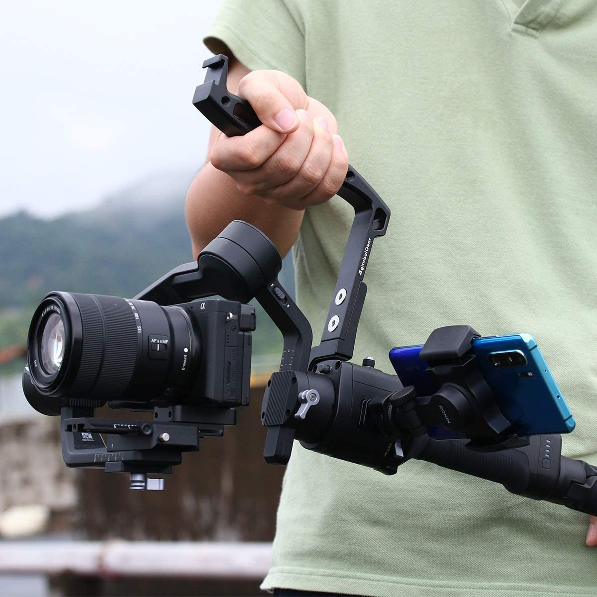 AgimbalGear DH09 Inverted Handheld Grip for Crane 2 Cold Shoe Mount Connect Monitor Mic Comfortable Metal Handle for Low Position Videography Compatible with ZHIYUN Crane 2//Plus FEIYU AK 2000 Light