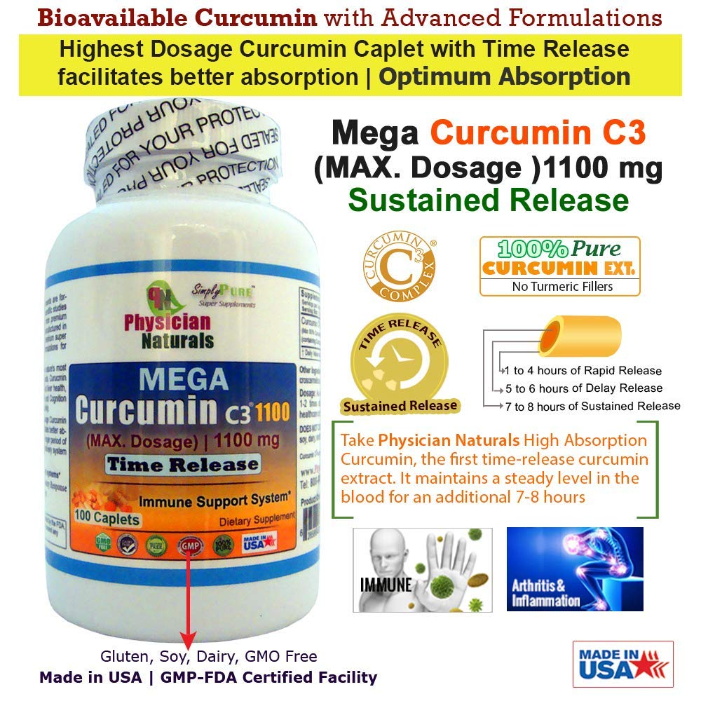 Physician Naturals Mega Curcumin C3 Time Release 1100 mg 100 Caplets Highest Dosage Ultra Pure Curcumin Turmeric Ext