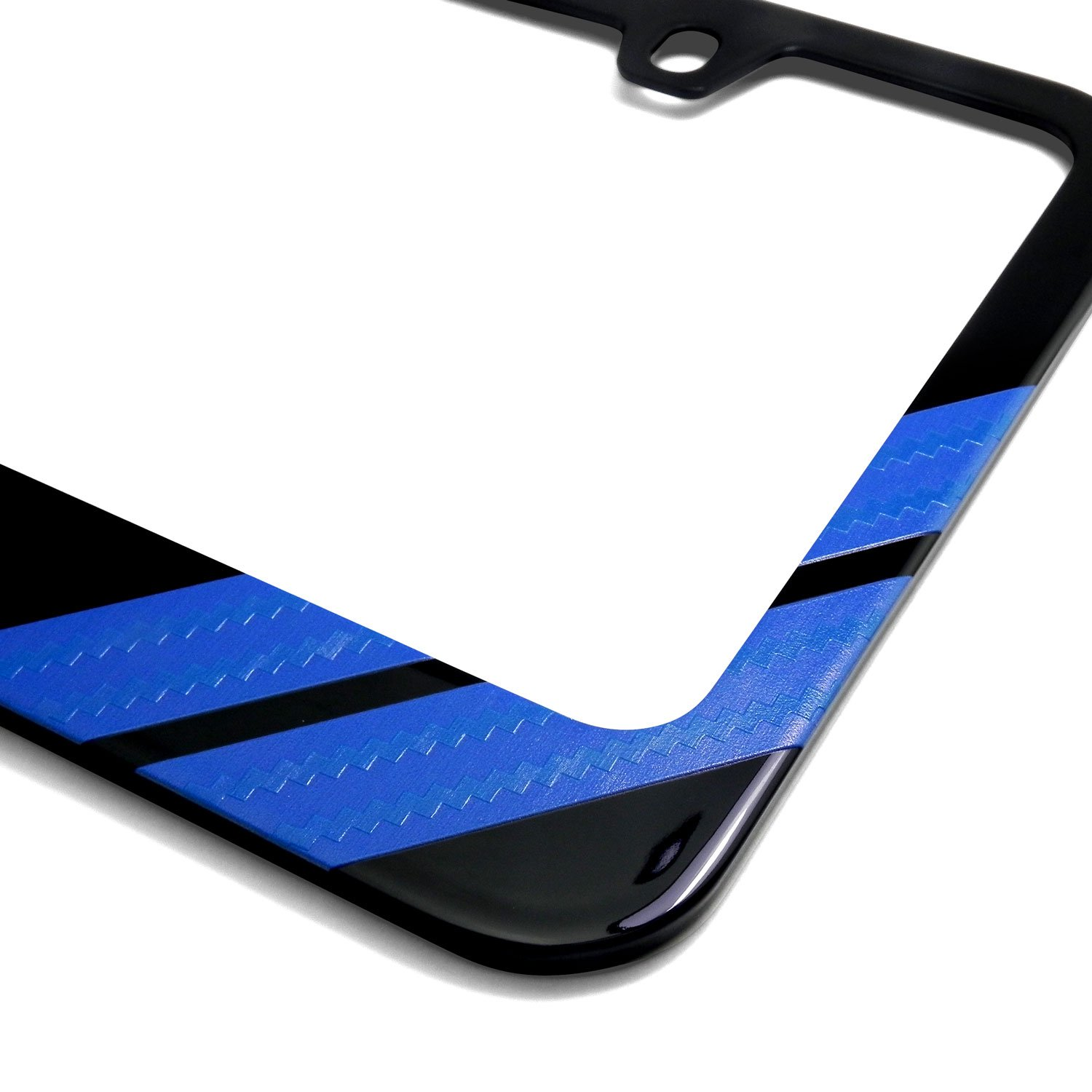 Ford Mustang Cobra Carbon Fiber Texture Blue Stripe Black Metal License Plate Frame iPick Image