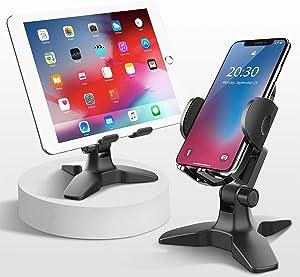 Cell Phone Stand, Universal Adjustable Phone Holder for Desk, Heavy Duty Cell Phone Holder for Home Office, Desktop Phone Holder Mount for Most Smartphones-Black