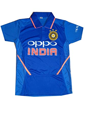 36ff62a6a Stylexa Men's Team Indian Cricket Odi Polyester Jersey T-Shirt (Blue, Small)