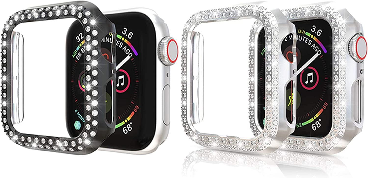 2PACK Bling Crystal Diamonds Plate Case Cover Protective Frame Compatible with Apple Watch 38mm/42mm/40mm/44mm Watch Bumper (Black+Silver, 38mm Watch)