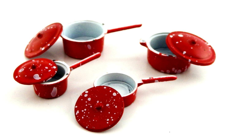 Amazon.es: Juego de Ollas y Sartenes Metálicos Color Rojo Miniatura Accesorio para Cocina de casa de Muñecas - 2106R: Juguetes y juegos