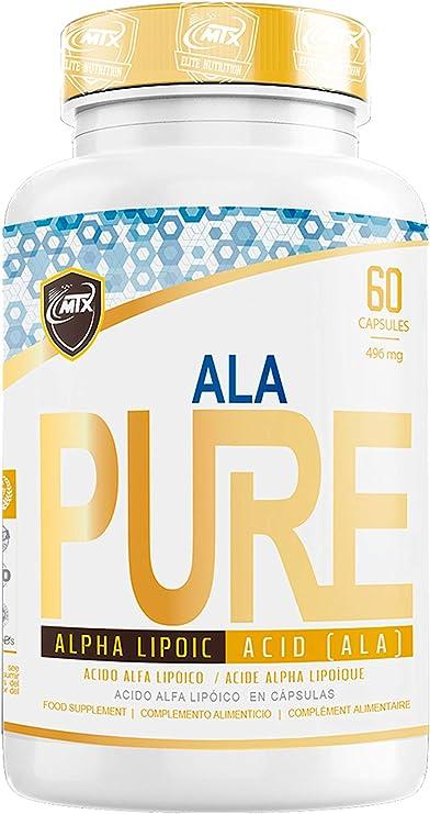 ALA MTX PURE 60 CAPSULAS| Ácido Alfa Lipoico | Antioxidante Poderoso | Glutatión |Anti envejecimiento | Belleza y Frescura Piel | Ácido Tióctico| Ácido Lipoico| Protege Oxidación Tejidos | Metabolismo Energético Carbohidratos
