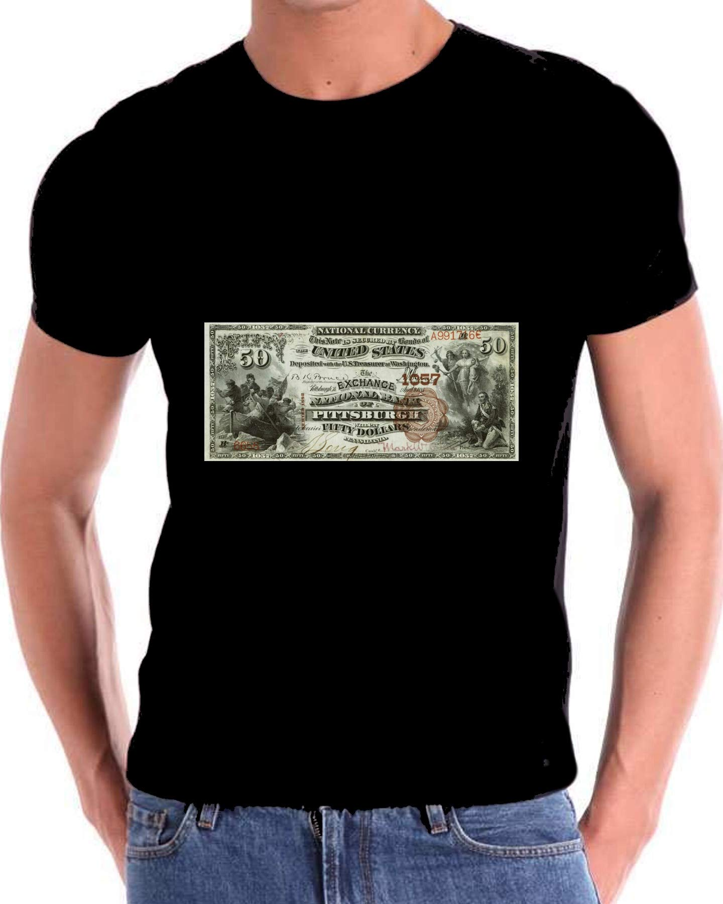 A 50 Dollar Bill from 1852 USA Currency T Shirt for Men Black by Mens t shirts