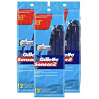 Deals on 3-Pack Gillette Sensor2 Fixed Men's Disposable Razor 12-Count