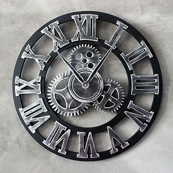 Retro Europeo Loft estilo industrial Barra de engranaje de reloj de pared decorativos de madera antiguos ...
