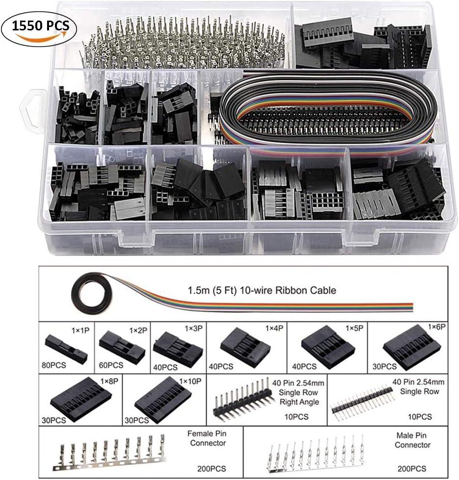 Dechengbao Kit doutils /à sertir Dupont avec 1550 connecteurs m/âle//femelle 2,54 mm et 760 connecteurs JST-XH 2,54 mm pour AWG 26-20 0,1-0,5 mm2