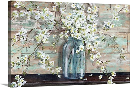 Amazon Com Blossoms In Mason Jar Canvas Wall Art Print 18 X12 X1 25 Posters Prints