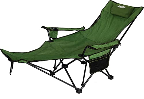 ANIGU Outdoor Folding Camp Chair with Footrest and Arms Reclining Oxford Fabric Lawn Chairs