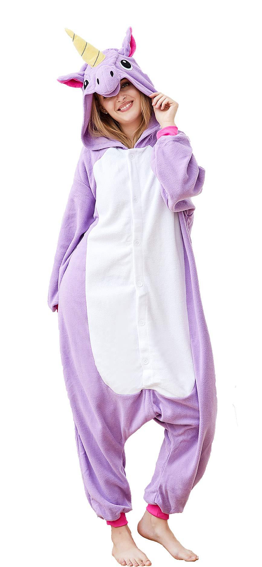 Adult Animal Cosplay Costumes Purple Unicorn Unisex Pajamas Lounge Wear (XL-for Height 71''-75'', Unicorn Purple)