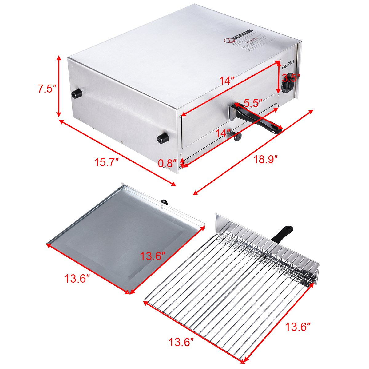 Goplus Pizza Oven, Stainless Steel Pizza Maker Machine, Pizza Baker W/Snack Pan, Snack Maker, Counter Top, for Commercial and Home by Goplus (Image #3)